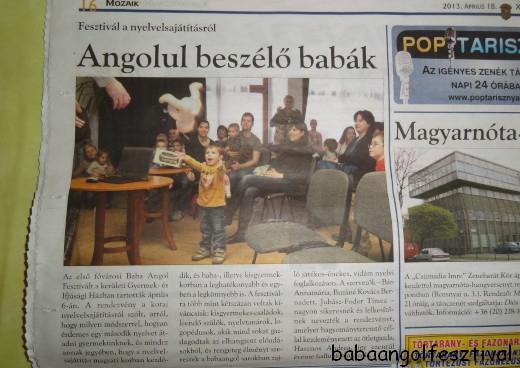 Az első Baba Angol Fesztiválról több helyen is írtak a sajtóban