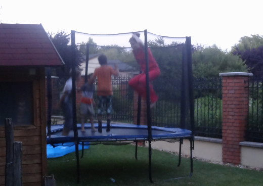 cheeky monkeys on the trampoline