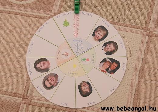 personalised season wheel - kreatív segédanyag angoltanuláshoz kisgyermekkorban az évszakok és a hónapok témakörhöz
