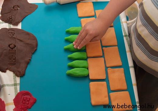 játékos angol gyerekeknek: Ten Green Bottles hanging on the wall - angol gyerekdal illusztrálása főzött sóliszt gyurmából
