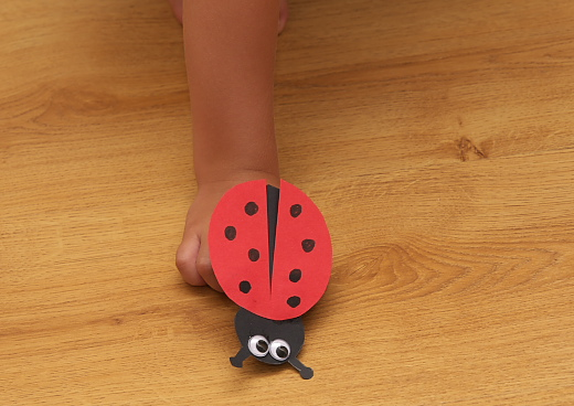 playing with the ladybug craft